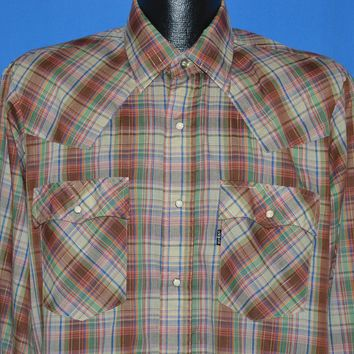 80s Levi's Plaid Pearl Snap Western shirt Large