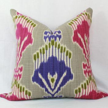 "Pink & purple ikat decorative throw pillow cover.  20"" x 20"" pillow cover."