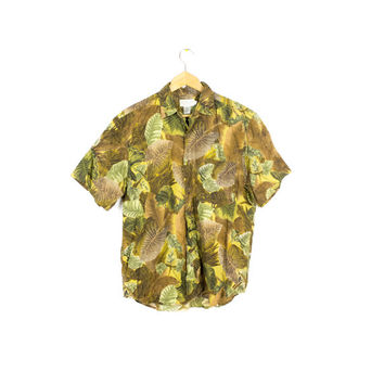 80s BANANA REPUBLIC SAFARI tag short sleeve shirt - vintage - camo - linen - floral pattern - tropical - mens small