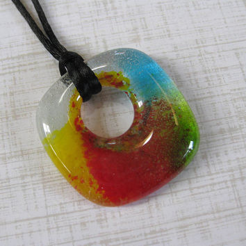 Colorful Necklace, Fused Glass Jewelry, Handcrafted Jewelry - Judy - 4247 -1