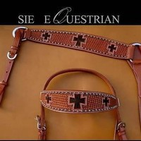 100% USA Leather, Cross Hair On Western Tack Headstall & Breastcollar
