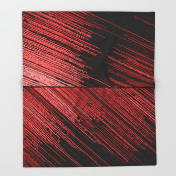 Line art, the scratch, red - abstract lines on canvas pattern, surreal concept art Throw Blanket by Casemiro Arts - Peter Reiss