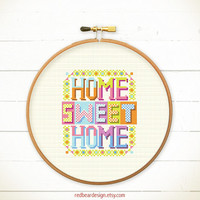 Home cross stitch pattern - Colorful Home Sweet Home -Xstitch Instant download-Modern Cute Funny Colorful Happy Floral Love Cool Typographic