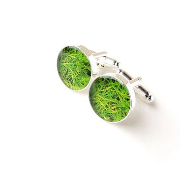 Green Grass Cufflinks, Quirky Gardener or Greenkeeper Resin Cufflinks, Grass Jewelry, Lawn Garden Park Jewellery, Kitsch Jewelry, UK (1298)