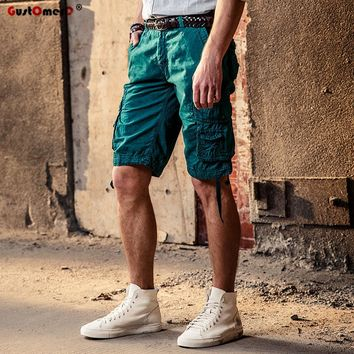 GustOmerD New Summer Militar Cargo Shorts Men Solid Color Quality Cotton Short Pants Multi-pocket Beach Shorts Men Casual Pants