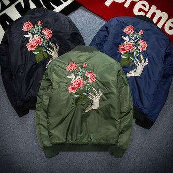 One-nice™ Rose embroidery autumn winter women men loose large size cotton coat with thick jacket