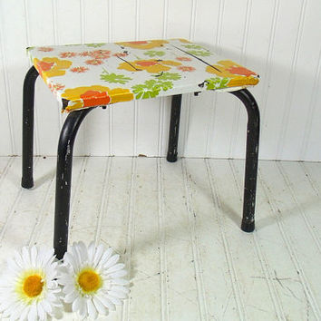 Vintage Industrial Black Metal and Wood Foot Stool - Groovy Contact Vinyl Covered Step Seat - Shabby Chic Flower Power Handy Booster