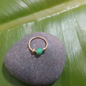 Nose Ring blue opal 14 k gold filled nose ring, nose rings, nose hoops, 20 gauge,nose piercing