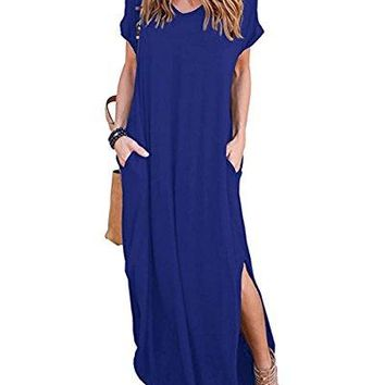 Womens Long Loose Maxi Dress VNeck Casual Side Split Dresses with Pockets