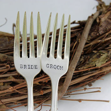 Bride Groom wedding fork set, wedding silverware, bridal silverware, bride and groom forks, wedding gift, bridal shower gift, custom forks