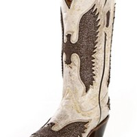 Corral Bone Metallic Eagle Cowgirl Boots