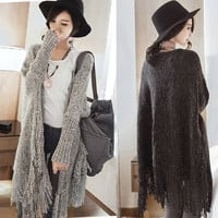 Autumn Women Fringed Sweater Long Section Cardigan Jacket Coat  Outwear 2 Colors = 1667507652