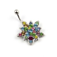 Mixed Swarovski Cz Crystals Gems Flower Curved Barbell 14g Belly Button Ring Navel Piercing +1 Retainer