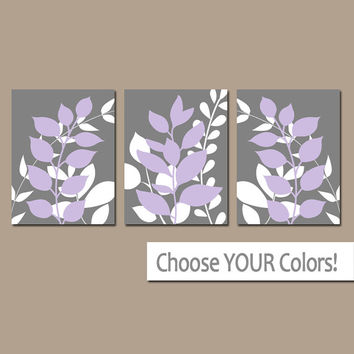Gray Lavender Wall Art, Bedroom Pictures, Leaves CANVAS or Prints Leaf Bathroom Artwork, Foliage Pictures, Flower Art, Set of 3 Home Decor