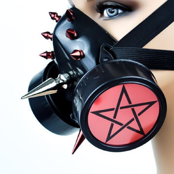 Red Disc Pentagram Spike Cyber Cosplay Respirator Gas Mask