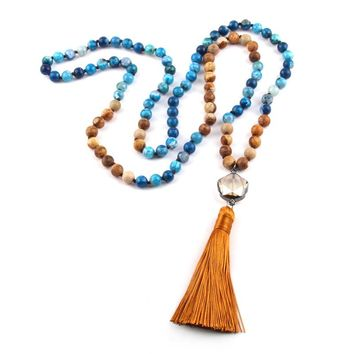 New ! 108 Beads Mala Natural Stone Knotted Crystal Link Thread Tassel Charm Pendant Necklace Women Meditation Yoga Necklace