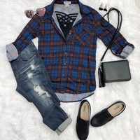 What I like about you Plaid Flannel Top: Royal