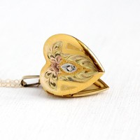 Diamond Heart Locket - Vintage 1940s Floral Etched Pendant Necklace- Retro 12k Gold Filled Photograph Romantic Flower Tri Tone Jewelry