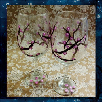 Cherry Blossoms - pilsner glass - champagne glasses - wine glasses - bridal party glasses - wedding party glasses - birthday glitter glass
