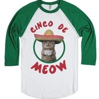 Cinco De Meow-Unisex White/Evergreen T-Shirt