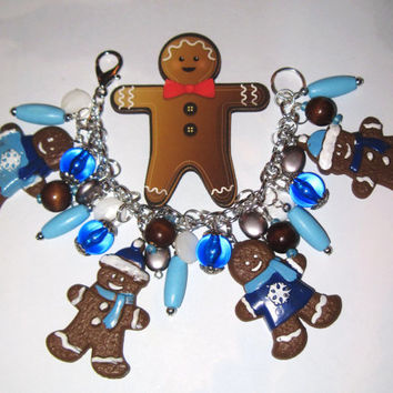 Christmas Charm Bracelet Gingerbread Man Bracelet Gingerbread Man Charm Bracelet Cookies Christmas Bracelet Winter Christmas Jewelry OOAK