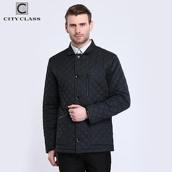 Men Quilted Jackets Suit Collar Hombre Business Casual Long Coats