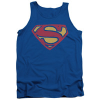 SUPERMAN/SUPER ROUGH-ADULT TANK-ROYAL BLUE
