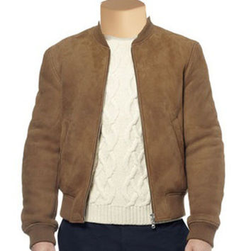Suede bomber jacket with ribbed collar