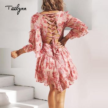 TEELYNN mini dress 2018 vintage floral print sexy backless summer dress elegant ruffles flare sleeve beach boho women dresses