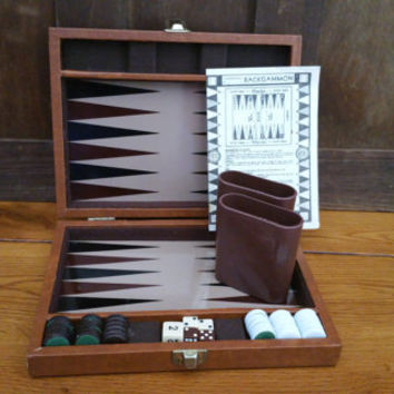Vintage Mini Travel Backgammon Set With Instructions in Faux Leather Case Great Vintage Game
