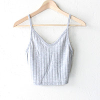 Knit Ribbed V-neck Crop Top - Heather Grey
