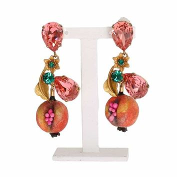 Dolce & Gabbana Gold Brass MELOGRANO Crystal Clip Earrings