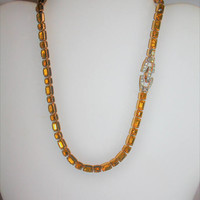 Vintage Mazer Necklace, Collar Choker Necklace, Citrine Rhinestone Necklace Designer  1950s Jewelry