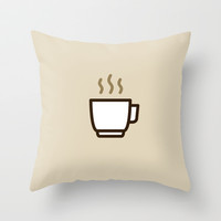 Coffee Icon (color) - Drinks Series Throw Pillow by Icon Prints