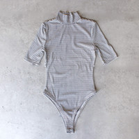 turtleneck striped ribbed bodysuit