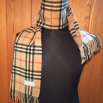 FREE SHIPPING BURBERRYS PURE CASHMERE NOVA CHECK SCARF BEIGE