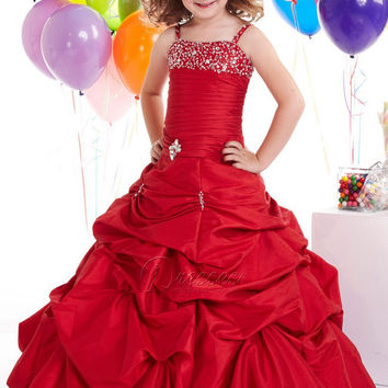 glitz kids beauty red pageant dresses for little girls spaghetti straps beading pleat ball gown pageant dress girls red size 14
