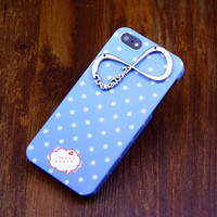 Iphone 5 case cover,Silvery one direction infinity   iphone5  cover,Antique iphone case shell,Blue Spot  iphone5 case