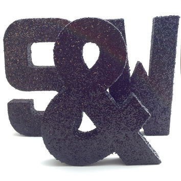 Glitter Letters - Black - Wedding - Nursery - Baby Shower - Chic - Cute - Decorative - Fun - Glamorous