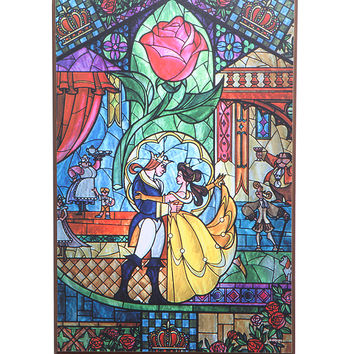 Disney Beauty And The Beast Stained Glass Dance Wood Wall Art