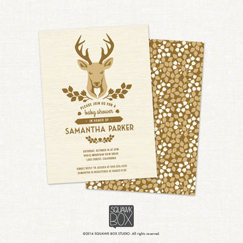 Woodland Deer Baby Shower Invitation – Boy, Girl, or Neutral – Printable Baby Shower Invitation by Squawk Box Studio
