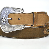 Nocona Men's Western Star Concho Leather Belt & Buckle-Brown