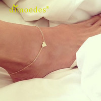 Creative 2015 New Arrival Simple Jewelry Trendy Anklets For Women Fashion Heart Ankle Bracelet Chain Beach Foot Jewelry