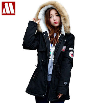 Winter Casual Lady fur collar coat army green outwear coats Women jackets Ladies winter jacket Women Warm Parka Coats
