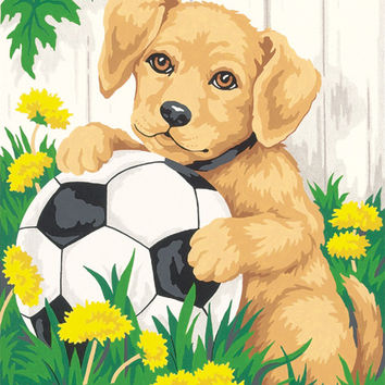 "puppy & soccer ball paint by number kit - 8"" x 10"""