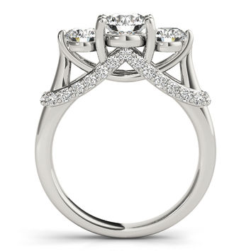 Engagement Ring -Three Stone Trellis Diamond Engagement Ring-ES2138