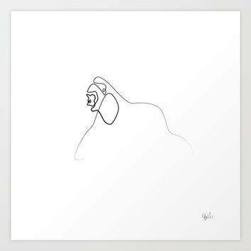 One line walking Gorilla Art Print by quibe