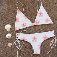 Fashion White Beach Bikini Fresh Pink Cherry Blossom Print Cute Two Piece Bikini Swimsuit Bathing