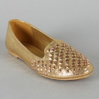 Leila-22 Metallic Leatherette Studded Loafer Flat