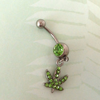 Weed Leaf Belly Button Ring